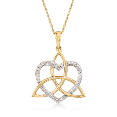 14kt Yellow Gold Trinity Knot and Heart Necklace with Diamond Accents