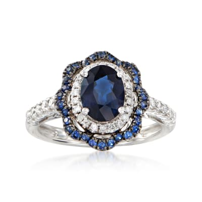 1.80 ct. t.w. Sapphire and .30 ct. t.w. Diamond Halo Ring in 18kt White Gold
