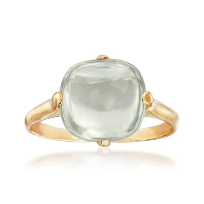 Italian 1.50 Carat Prasiolite Ring in 14kt Yellow Gold