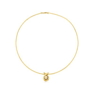 C. 1999 Vintage 1.4mm 18kt Yellow Gold and .25 Carat Diamond Omega Pendant Necklace with British Hallmark