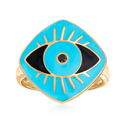 Black and Blue Enamel Evil Eye Ring in 18kt Gold Over Sterling