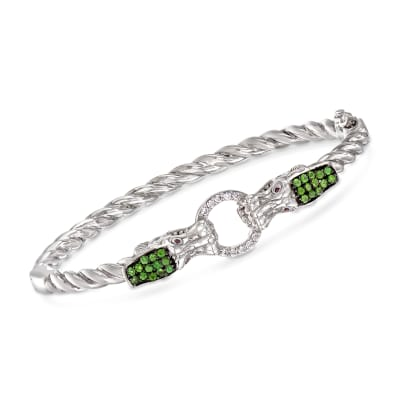 .70 ct. t.w. Multi-Gem Double Dragon Head Bangle Bracelet with Ruby Accents in Sterling Silver
