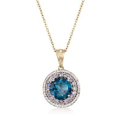 4.50 Carat London Blue Topaz Necklace with Tanzanites and Diamonds in 14kt Gold Over Sterling