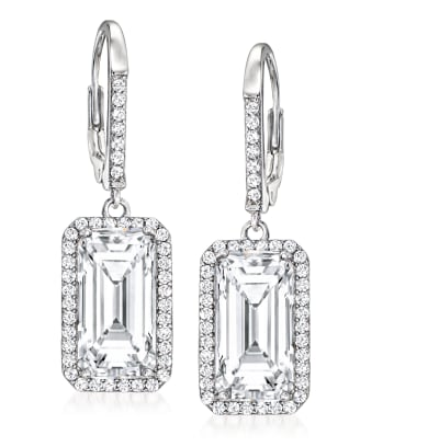 11.70 ct. t.w. CZ Drop Earrings in Sterling Silver