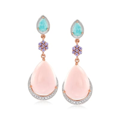 Pink Opal and .60 ct. t.w. Multi-Gemstone Drop Earrings in 18kt Rose Gold Over Sterling Silver