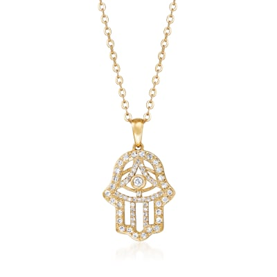 .42 ct. t.w. Diamond Hamsa Hand Pendant Necklace in 18kt Gold Over Sterling