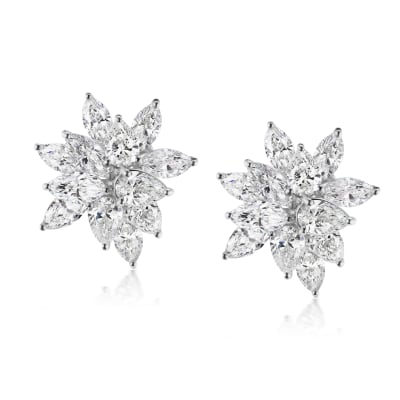 8.40 ct. t.w. Diamond Floral Earrings in 18kt White Gold