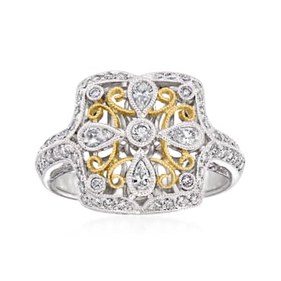 C. 1990 Vintage .80 ct. t.w. Diamond Ring in 18kt Two-Tone Gold