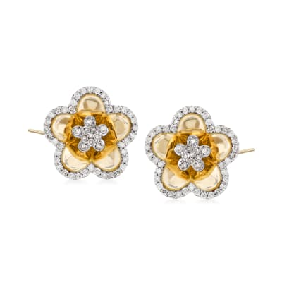 .44 ct. t.w. Diamond Flower Earrings in 14kt Yellow Gold