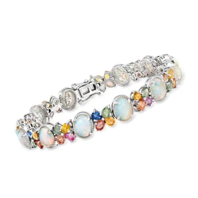 Opal and 11.00 ct. t.w. Multicolored Sapphire Bracelet in Sterling Silver
