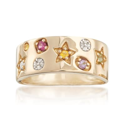 .22 ct. t.w. Multi-Stone Ring with Diamond Accents in 14kt Yellow Gold