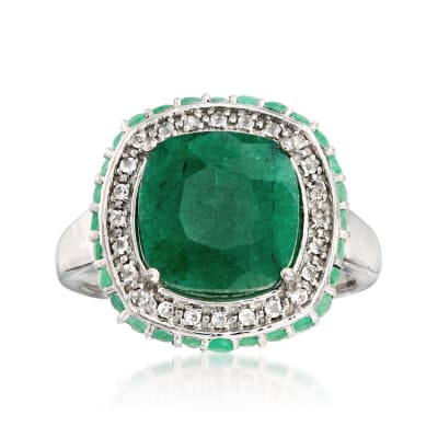 4.40 ct. t.w. Emerald and .10 ct. t.w. White Topaz Ring in Sterling Silver