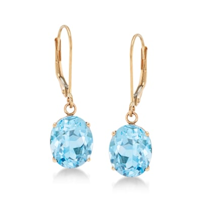 5.50 ct. t.w. Blue Topaz Drop Earrings in 14kt Yellow Gold