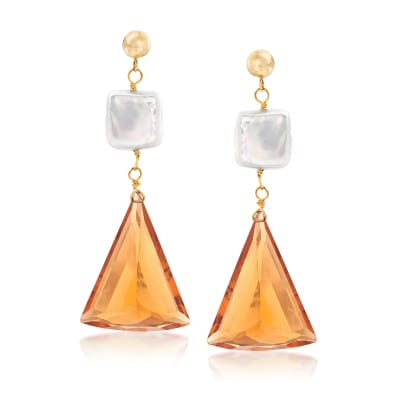 10mm Cultured Pearl and 30.00 ct. t.w. Citrine Drop Earrings in 14kt Yellow Gold