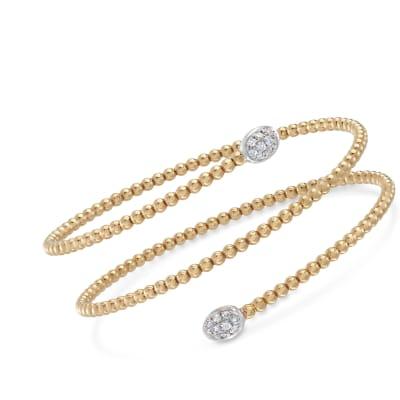 .27 ct. t.w. Diamond Beaded Coil Bangle Bracelet in 18kt Yellow Gold