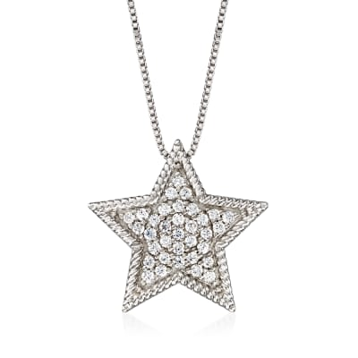 .33 ct. t.w. Diamond Star Necklace in Sterling Silver