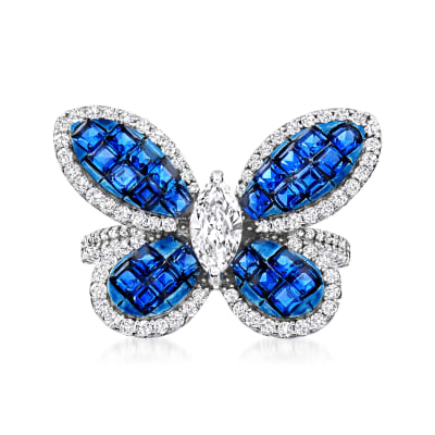 1.30 ct. t.w. Simulated Sapphire and 1.10 ct. t.w. CZ Butterfly Ring in Sterling Silver