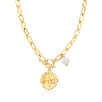 18kt Gold Over Sterling Tree of Life Coin Necklace with 7mm Cultured Pearl