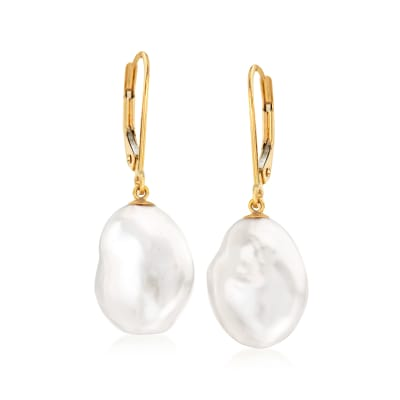 11-12mm Cultured Keshi Baroque Pearl Drop Earrings in 14kt Yellow Gold