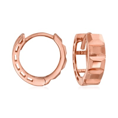 14kt Rose Gold Textural Huggie Hoop Earrings