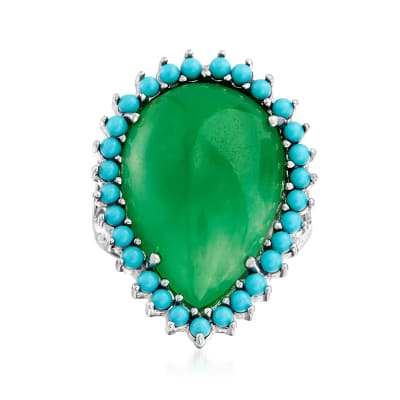 Jade and Simulated Turquoise Cocktail Ring in Sterling Silver