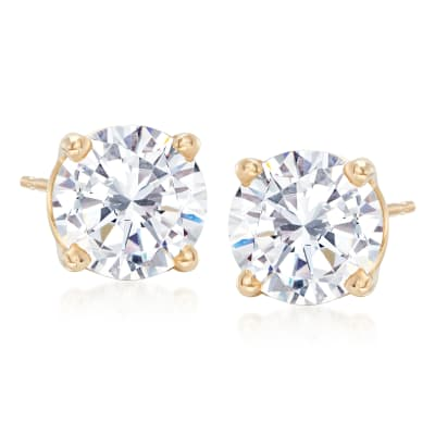 3.00 ct. t.w. CZ Stud Earrings in 14kt Yellow Gold
