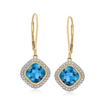 3.50 ct. t.w. London Blue Topaz and .19 ct. t.w. Diamond Drop Earrings in 14kt Yellow Gold