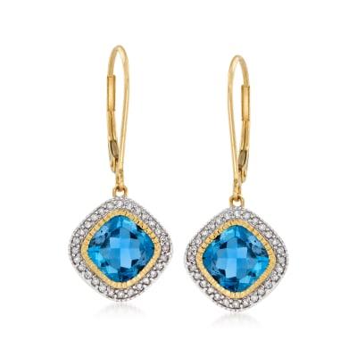 3.50 ct. t.w. London Blue Topaz and .19 ct. t.w. Diamond Drop Earrings in 14kt Yellow Gold
