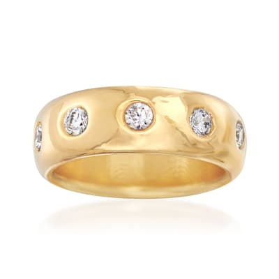 Italian Andiamo 14kt Yellow Gold and 1.00 ct. t.w. CZ Ring