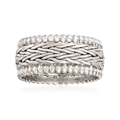 Sterling Silver Wheat-Link and Beaded Ring