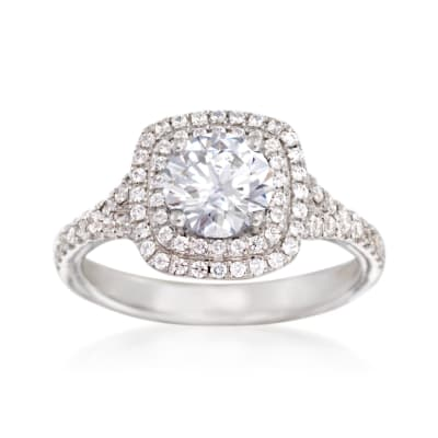 Simon G. .46 ct. t.w. Diamond Double Halo Engagement Ring Setting in 18kt White Gold