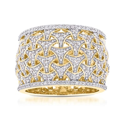 .74 ct. t.w. Diamond Basketweave Ring in 14kt Yellow Gold