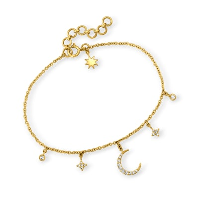 .14 ct. t.w. Diamond Moon and Star Charm Bracelet in 14kt Yellow Gold