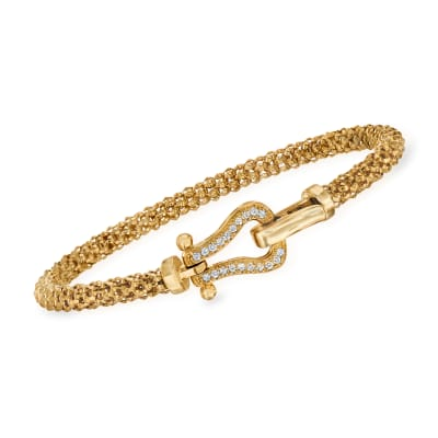 "Phillip Gavriel ""Popcorn"" .20 ct. t.w. Diamond Bracelet in 14kt Yellow Gold"