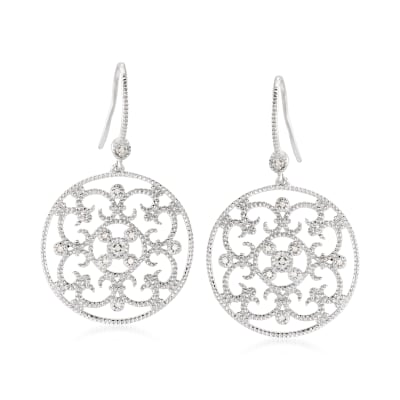 .20 ct. t.w. Diamond Openwork Floral Drop Earrings in Sterling Silver