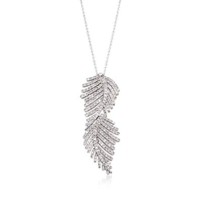 1.20 ct. t.w. Diamond Feather Pendant Necklace in 14kt White Gold