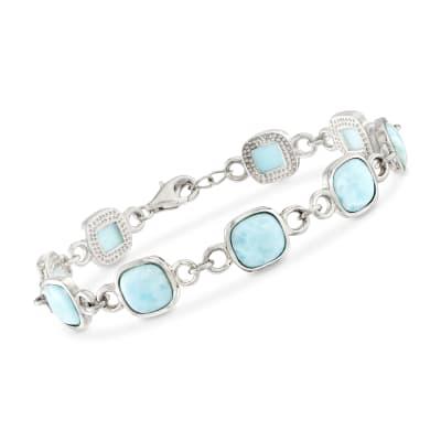 Square Larimar Bezel Bracelet in Sterling Silver