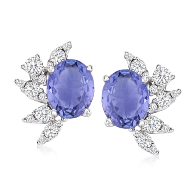 4.00 ct. t.w. Tanzanite and .70 ct. t.w. Diamond Floral-Accented Earrings in 14kt White Gold