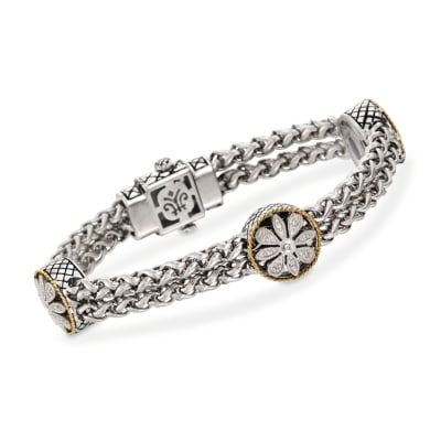 Andrea Candela Two-Tone Floral Station Bracelet with Diamond Accents