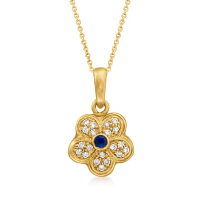 C. 1990 Vintage .12 Carat Sapphire and .30 ct. t.w. Diamond Flower Pendant Necklace in 18kt Yellow Gold