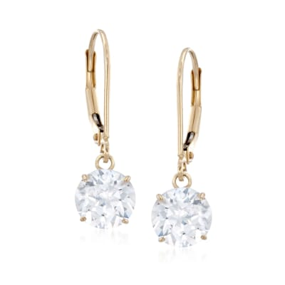 2.00 ct. t.w. CZ Drop Earrings in 14kt Yellow Gold