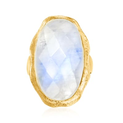 Moonstone Ring in 18kt Gold Over Sterling