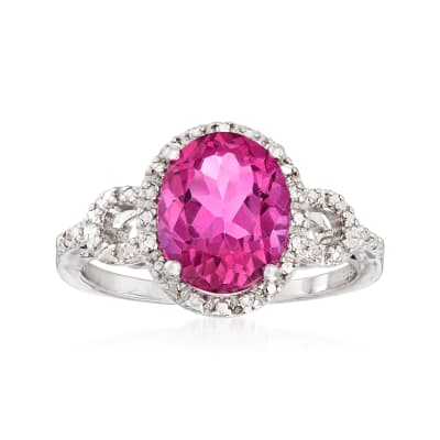 3.00 Carat Pink Topaz Ring with Diamond Accents in Sterling Silver