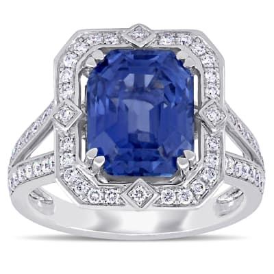 6.48 Carat Sapphire and .47 ct. t.w. Diamond Cocktail Ring in 14kt White Gold