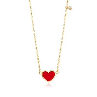 Baby's Enamel Heart Necklace in 14kt Yellow Gold with CZ Accent