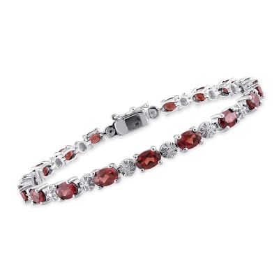 9.75 ct. t.w. Garnet Tennis Bracelet with Diamond Accents in Sterling Silver