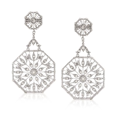 .50 ct. t.w. Diamond Octagon Drop Earrings in Sterling Silver
