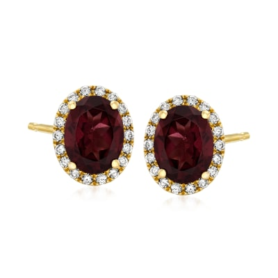 C. 1990 Vintage 2.97 ct. t.w. Garnet and .36 ct. t.w. Diamond Earrings in 14kt Yellow Gold