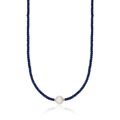 78.00 ct. t.w. Sapphire Bead and 12-13mm Cultured Pearl Necklace with 14kt Yellow Gold