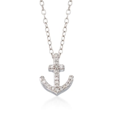 .10 ct. t.w. Diamond Anchor Pendant Necklace in Sterling Silver